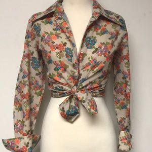 Vintage 1970s Floral Button-down